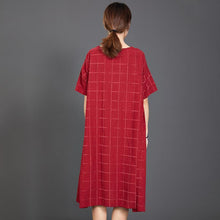 Load image into Gallery viewer, Loose Plaid Casual Short Sleeve Red Dress