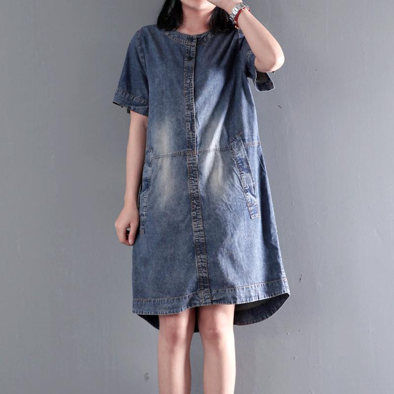 Loose denim sundress plus size causal denim summer dresses shift dress