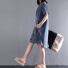 Load image into Gallery viewer, Loose denim sundress plus size causal denim summer dresses shift dress