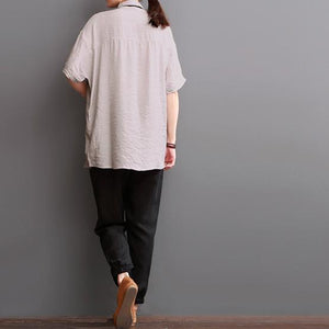 Loose fit silk blouse linen shirt top women summer
