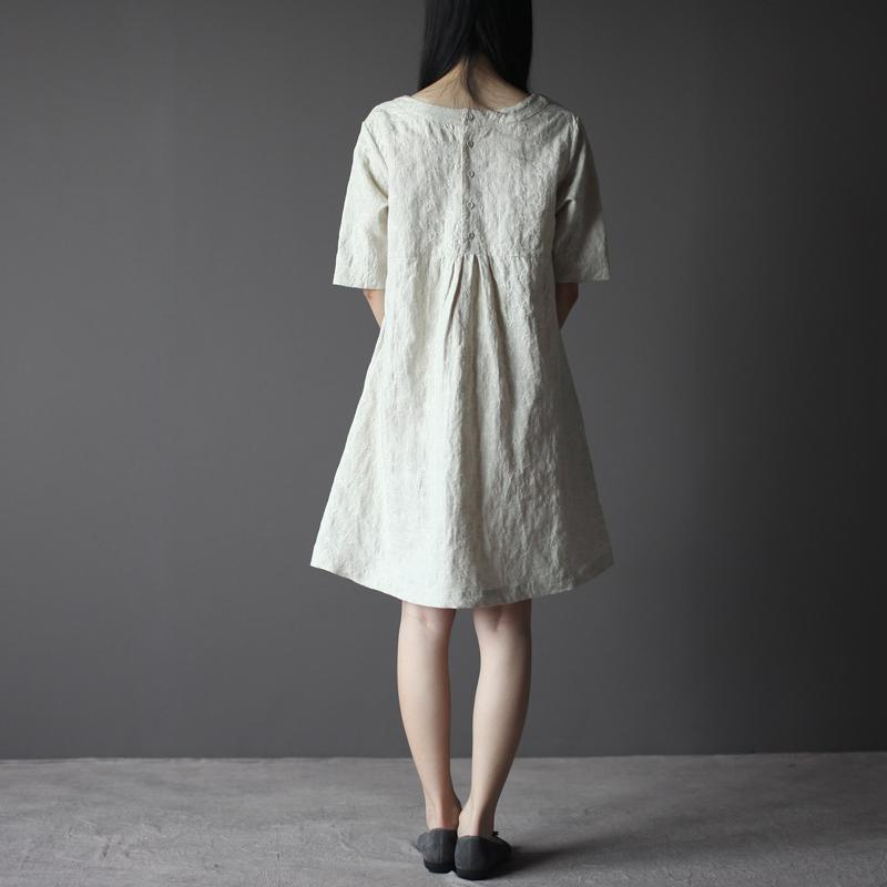 Loose fitting Jacquard linen shift dress sundress in Nude
