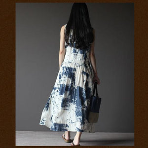 Lost Memory-off white linen sundress sleeveless long summer dresses