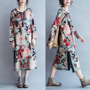Lotus in the moonlight print maxi dress long sleeve cotton long sleeve dresses plus size cotton gowns