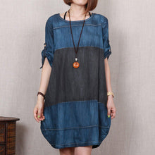 Load image into Gallery viewer, Love Denim blue oversize denim sundress plus size summer shift dress