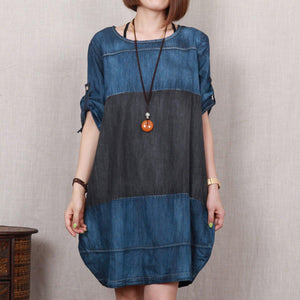 Love Denim blue oversize denim sundress plus size summer shift dress