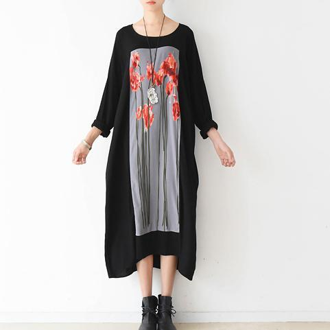 Love Flower Art plus size cotton dresses black causal oversize caftans loose clothing