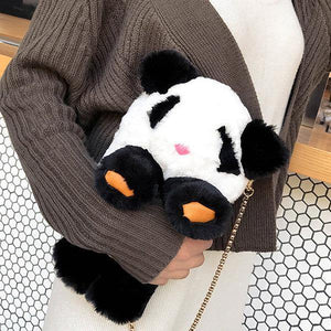Lovely Panda Shape Plush Crossbody Bag Chain Phone Bag Shoulder Bags