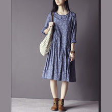 Load image into Gallery viewer, Low high waist print sundress cotton summer maxi dress in blue