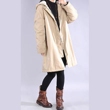 Load image into Gallery viewer, Luxury beige overcoat casual winter jacket hooded zippered outwear
