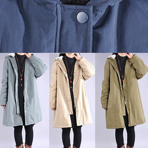 Luxury beige overcoat casual winter jacket hooded zippered outwear