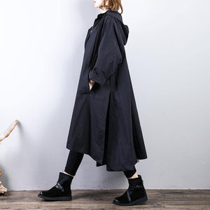 Luxury black  Coat oversize hooded maxi coat New big hem coats