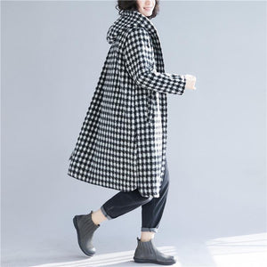 Luxury black Plaid woolen overcoat Loose fitting mid-length coats hooded