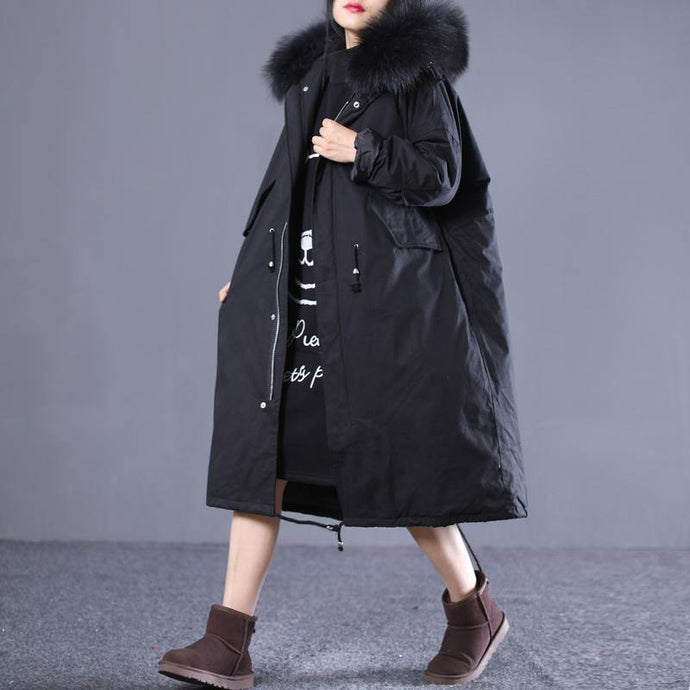 Luxury black Winter Fashion oversize hooded fur collar down jacket top quality drawstring pockets down overcoat