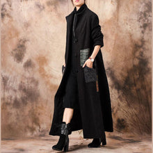 Load image into Gallery viewer, Luxury black Women casual long winter coat patchwork stand collar woolen outwear
