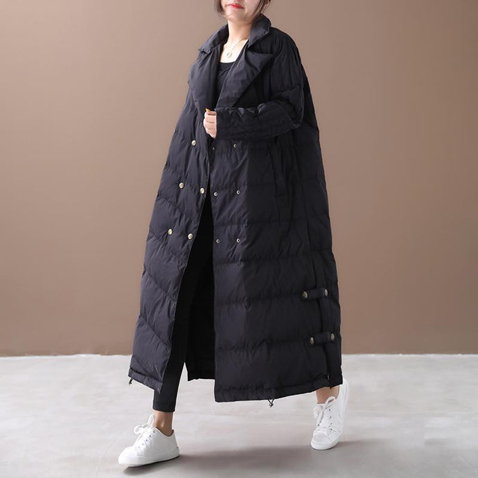 Luxury black goose Down coat Loose fitting winter jacket winter Jackets double breast