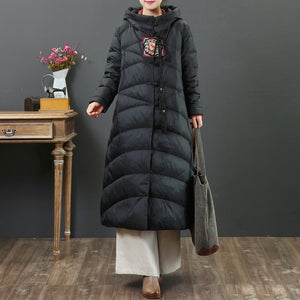 Luxury black goose Down coat plussize embroidery women parka Chinese Button Luxury coats