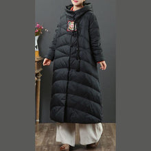 Load image into Gallery viewer, Luxury black goose Down coat plussize embroidery women parka Chinese Button Luxury coats