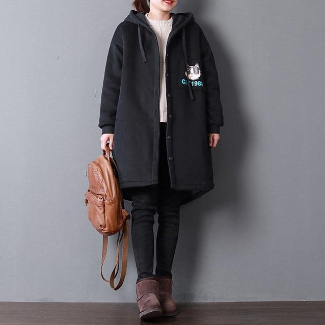 Luxury black print Parkas casual hooded warm winter coat thick pockets drawstring coats