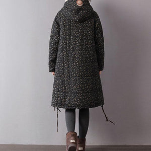 Luxury black print women parka oversize hooded winter Luxury pockets drawstring winter coats