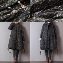 Load image into Gallery viewer, Luxury black print women parka oversize hooded winter Luxury pockets drawstring winter coats
