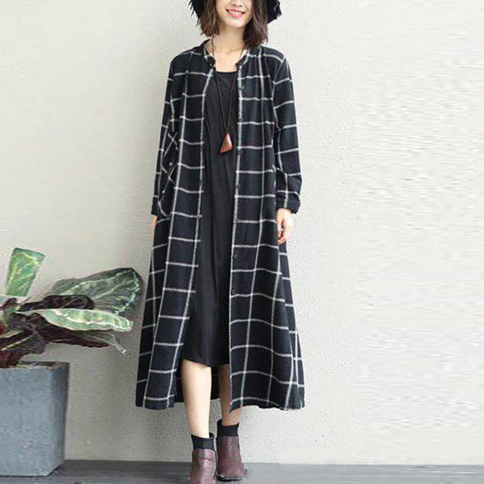Luxury black white plaid cotton Coat oversized o neck long linen coat New long coat