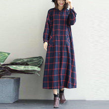 Load image into Gallery viewer, Luxury black white plaid cotton Coat oversized o neck long linen coat New long coat