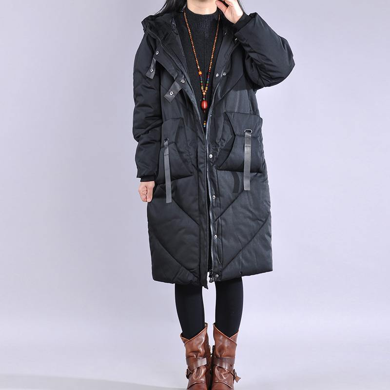 Luxury black winter parkas casual down jacket zippered hooded outwear
