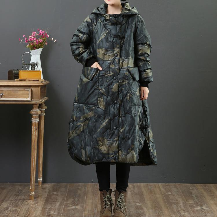 Luxury dark gray duck down coat trendy plus size side open winter jacket hooded women winter outwear