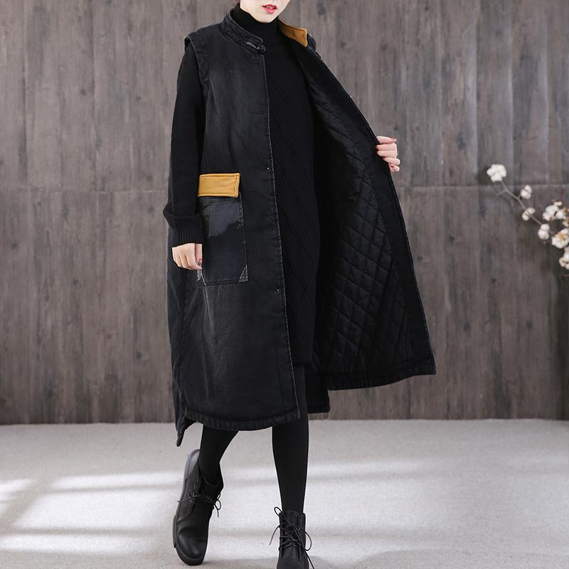Luxury denim black women parka Loose fitting winter outwear stand collar pockets