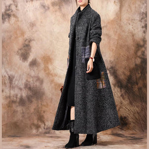 Luxury gray outwear oversized trench coat patchwork stand collar coat