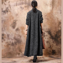 Load image into Gallery viewer, Luxury gray outwear oversized trench coat patchwork stand collar coat