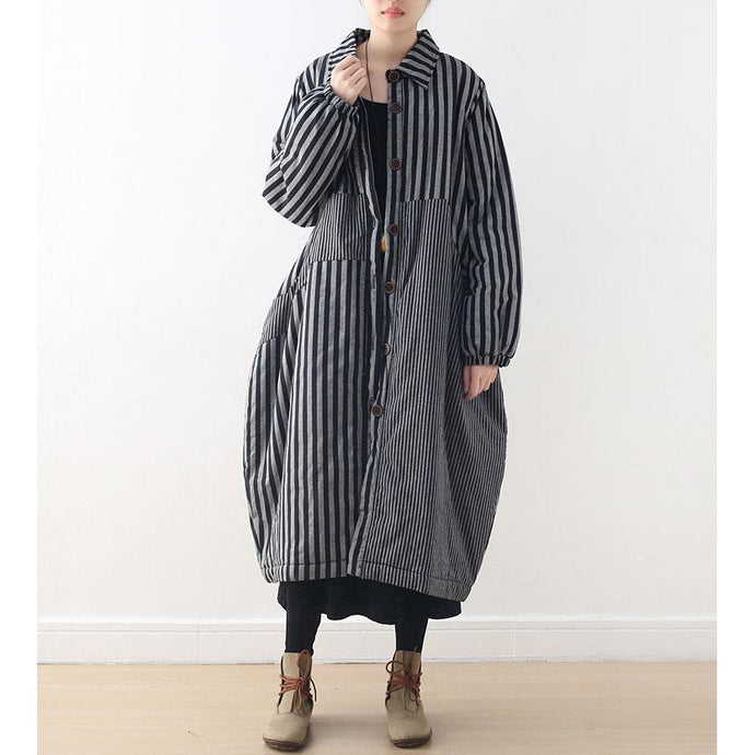 Luxury gray striped winter parkas plus size turn-down Collar winter top quality patchwork overcoat