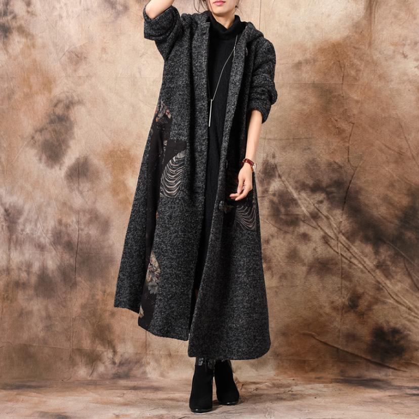 Luxury gray woolen coats trendy plus size patchwork hooded women coats