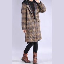 Load image into Gallery viewer, Luxury khaki plaid overcoat plus size clothing snow jackets big pockets hooded winter outwear