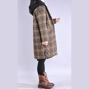 Luxury khaki plaid overcoat plus size clothing snow jackets big pockets hooded winter outwear