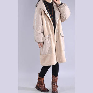 Luxury khaki winter parkas plus size clothing hooded pockets winter outwear
