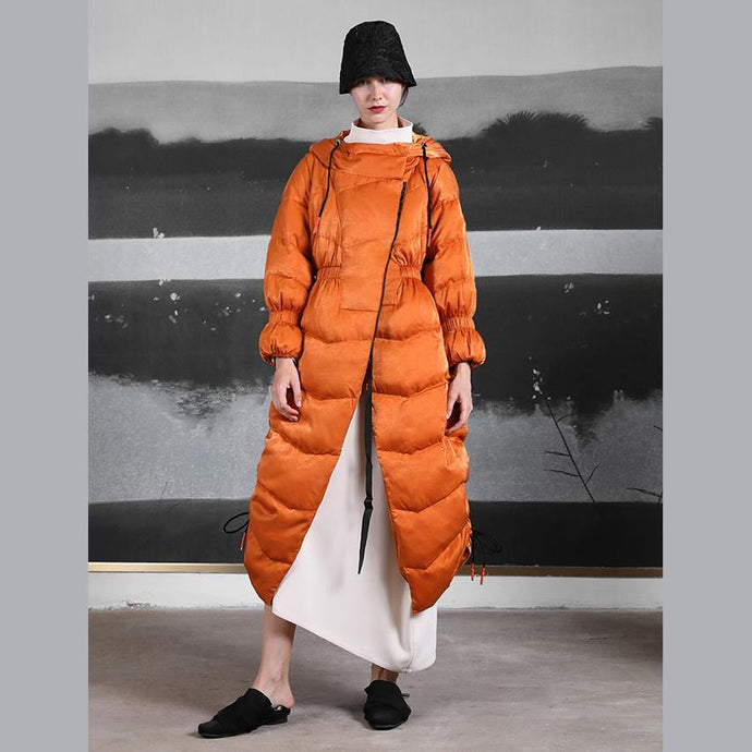 Luxury orange duck down coat trendy plus size side drawstring winter jacket hooded Jackets