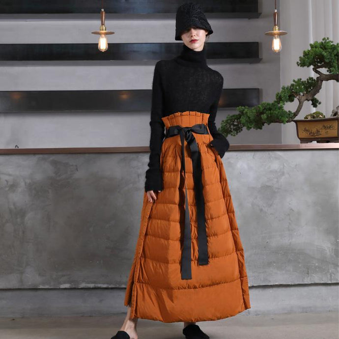 Luxury orange duck down skirts casual high waist winter skirts thick oversize maxi skirts
