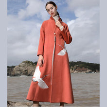 Load image into Gallery viewer, Luxury orange red Woolen Coats trendy plus size Winter coat V neck mbroidery tassel coate