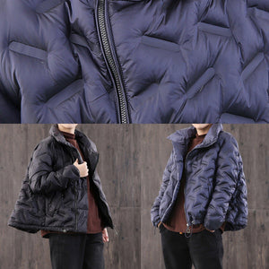 Luxury plus size clothing black high neck zippered down jacket woman