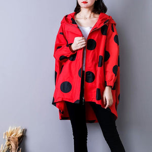Luxury red dotted maxi coat Loose fitting hooded autumn coat Fine low high design coats