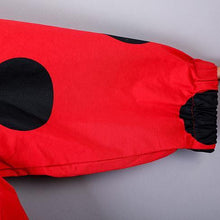 Load image into Gallery viewer, Luxury red dotted maxi coat Loose fitting hooded autumn coat Fine low high design coats
