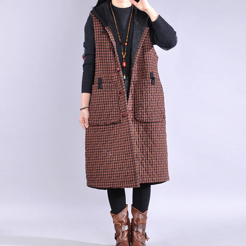 Luxury red plaid womens coats oversized winter jacket hooded sleeveless coats