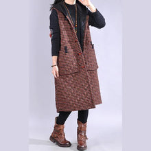 Load image into Gallery viewer, Luxury red plaid womens coats oversized winter jacket hooded sleeveless coats