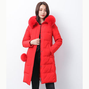 Luxury red warm winter coat plus size clothing fuzzy ball decorated snow jackets fur collar winter outwear