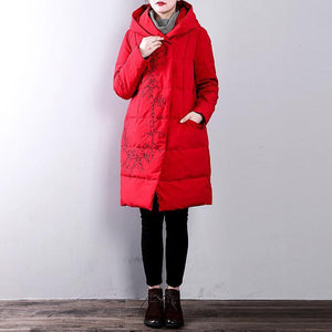 Luxury red warm winter coat plus size hooded embroideryYZ-2018111410