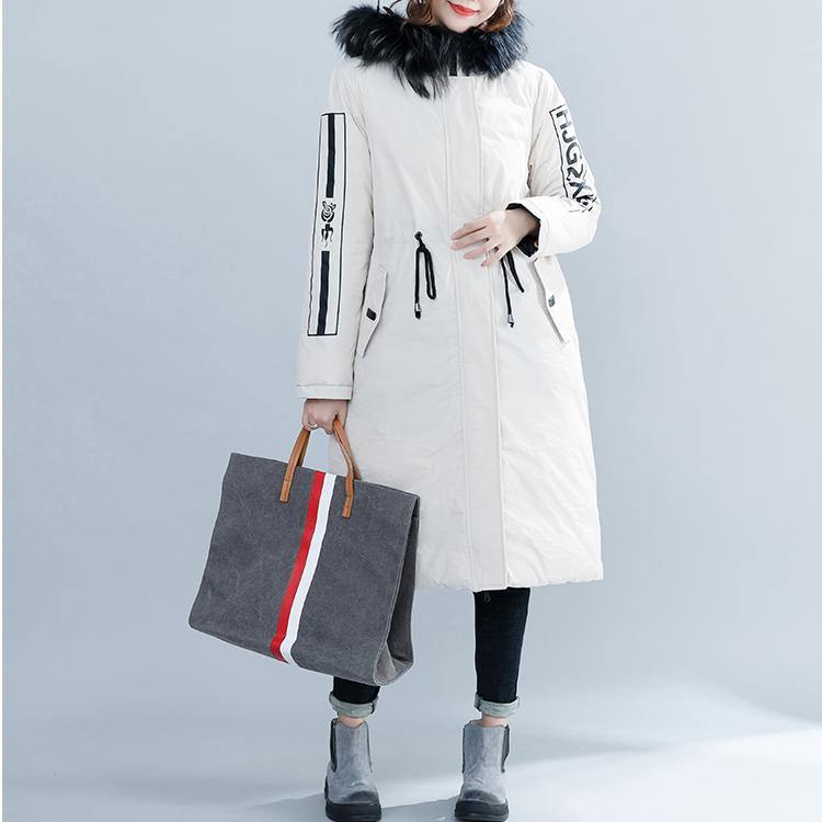 Luxury white Parka Loose fitting hooded fur collar Letter quilted coat Casual tie waist pockets cotton coats