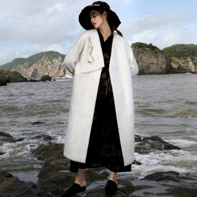 Luxury white Woolen Coats Women oversized long coat V neck pockets outwear