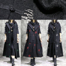 Load image into Gallery viewer, Luxury white dotted oversize long winter coat hooded Button Down outwear