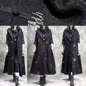 Luxury white dotted oversize long winter coat hooded Button Down outwear